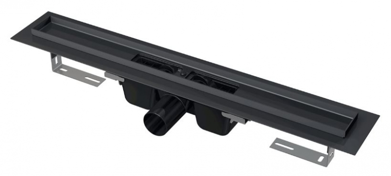 Alcaplast APZ1BLACK-650 Podlahový žlab s okrajem pro perforovaný rošt, černá-mat 550 mm