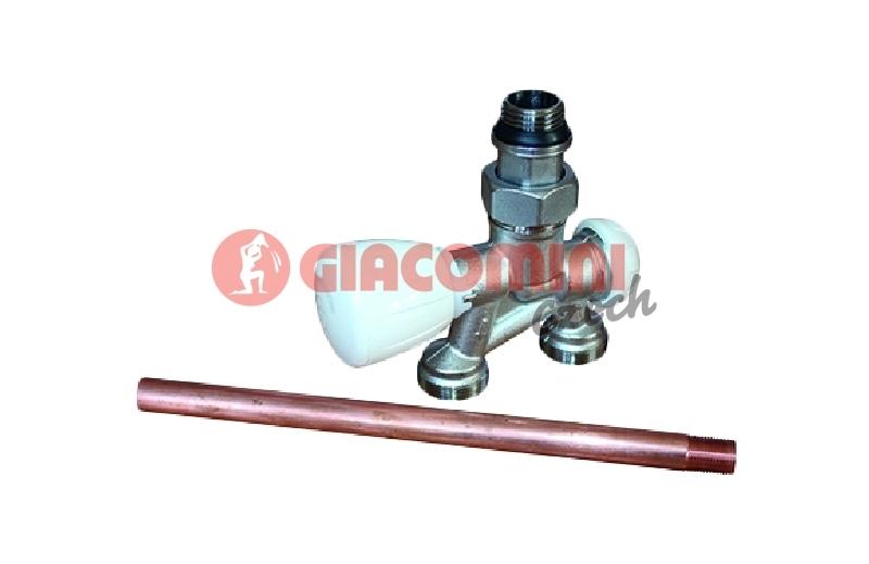Giacomini R356MI Čtyřcestný termostatický ventil s nátrubkem, bez adaptérů, jednobodové spodní připojení včetně injektoru, přímý