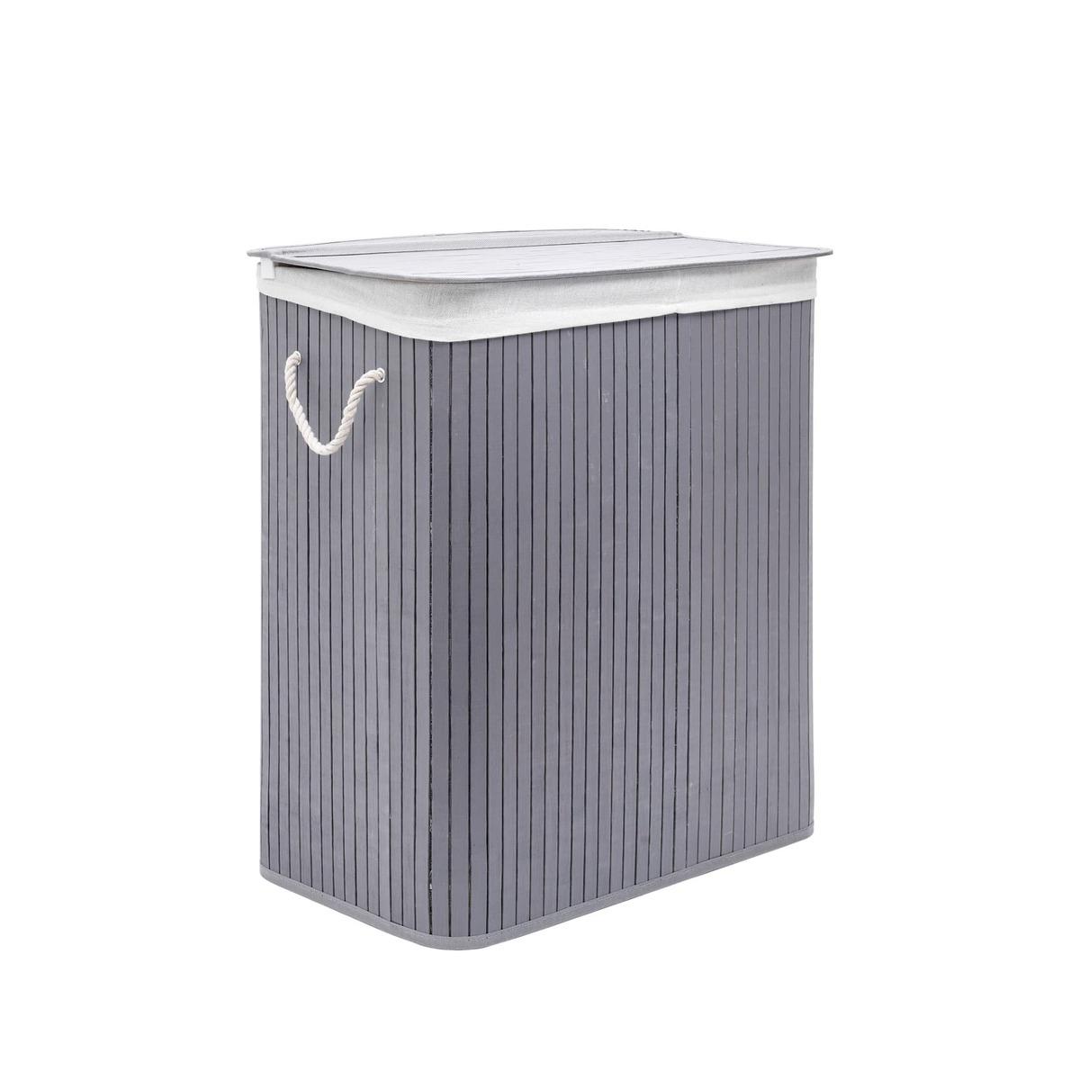 Koš na prádlo 100l SAT, bambus, šedá