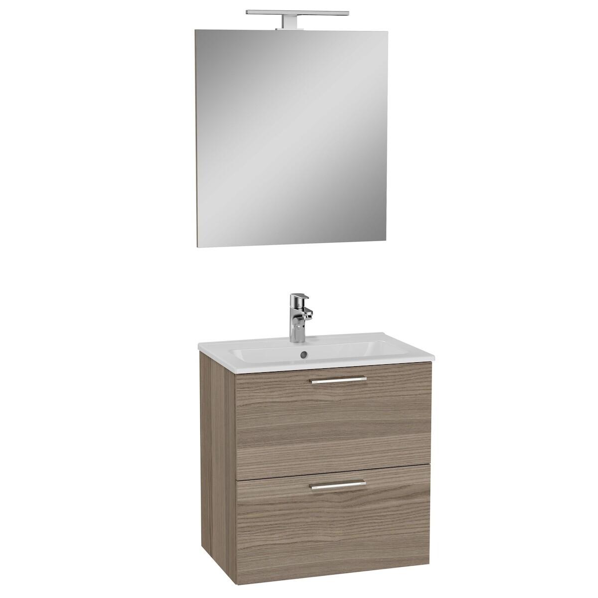 Koupelnová skříňka s umyvadlem zrcadlem a osvětlením 59x61x39,5 cm Vitra Mia cordoba