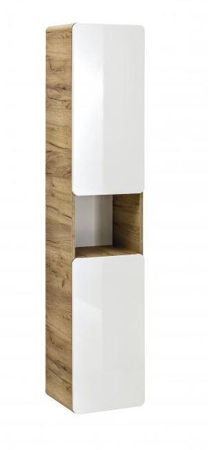 Comad Koupelnová skříňka vysoká ARUBA WHITE 800, 170x35x32 cm, dub/bílá lesk