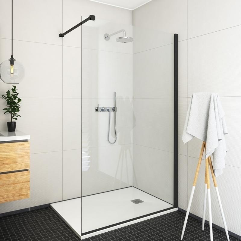 Roltechnik Bezrámová sprchová zástěna ECWALK/1400, 140x207cm, rám černý, sklo čiré