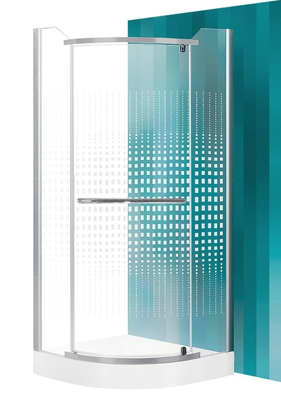 ROTH PROJECT Sprchový kout AUSTIN/900, sklo potisk, rám stříbro, 90x90x195 cm