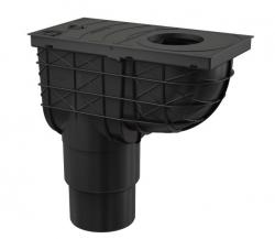 Alcaplast AGV4 Univerzální lapač střešních splavenin 300×155/125/110 mm přímý, černá