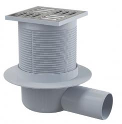 Alcaplast APV1 Podlahová vpust 105×105/50 mm boční, mřížka nerez, vodní zápachová uzávěra