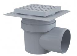 Alcaplast APV10 Podlahová vpust 150×150/110 mm, boční, mřížka šedá, límec 2. úrovně izolace, vodní zápachová uzávěra