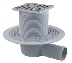 Alcaplast APV101 Podlahová vpust 105×105/50 mm, boční, mřížka nerez, zápachová uzávěra
