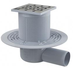 Alcaplast APV102 Podlahová vpust 105×105/50 mm, boční, mřížka nerez, zápachová uzávěra