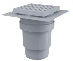 Alcaplast APV11 Podlahová vpust 150×150/110 mm, přímá, mřížka šedá, límec 2. úrovně izolace, vodní zápachová uzávěra