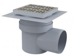 Alcaplast APV12 Podlahová vpust 150×150/110 mm, boční, mřížka nerez, límec 2. úrovně izolace, vodní zápachová uzávěra