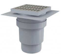 Alcaplast APV13 Podlahová vpust 150×150/110 mm přímá, mřížka nerez, límec 2. úrovně izolace, vodní zápachová uzávěra