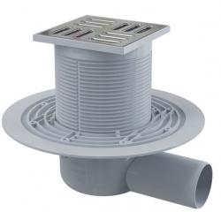 Alcaplast APV1311 Podlahová vpust 105×105/50 mm, boční, mřížka nerez, vodní zápachová uzávěra
