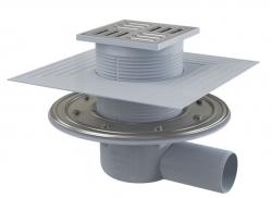 Alcaplast APV1324 Podlahová vpust 105×105/50 mm boční, mřížka nerez, nerezová příruba a límec 2. úrovně izolace, zápachová uzávěra SMART