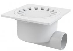 Alcaplast APV15 Podlahová vpust 150×150/50 mm, boční, mřížka bílá, vodní zápachová uzávěra
