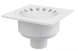 Alcaplast APV16 Podlahová vpust 150×150/50 mm, přímá, mřížka bílá, vodní zápachová uzávěra