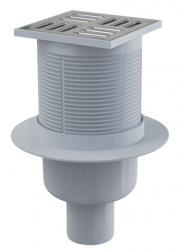 Alcaplast APV2 Podlahová vpust 105×105/50 mm, přímá, mřížka nerez, vodní zápachová uzávěra