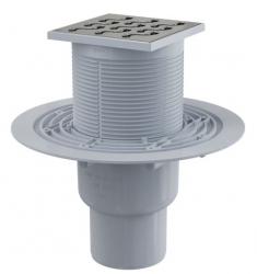 Alcaplast APV202 Podlahová vpust 105×105/50/75 mm, přímá, mřížka nerez, zápachová uzávěra
