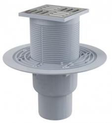 Alcaplast APV2311 Podlahová vpust 105×105/50/75 mm přímá, mřížka nerez, vodní zápachová uzávěra