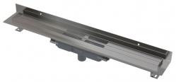 APZ1116-300 Wall Low Podlahový žlab s okrajem pro plný rošt a s pevným límcem ke stěně, svislý odtok, délka 300 mm