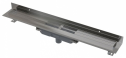 APZ1116-750 Wall Low Podlahový žlab s okrajem pro plný rošt a s pevným límcem ke stěně, svislý odtok, délka 750 mm