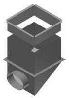 Atrea CPK BN Cirkulační přechodová komora 375 x 375 / ø 250 s bočním napojením pro rozdělovací komoru s dolním přívodem R144253