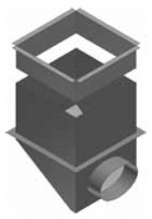 CPK BN Cirkulační přechodová komora 285 x 285 / ø 160 s bočním napojením  pro rozdělovací komoru s dolním přívodem R144463