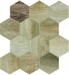 Dlažba Barn Wood beige hexagon 35x37,5 cm, mat, rektifikovaná