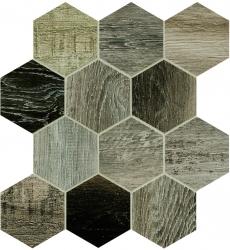 Dlažba Barn Wood grey hexagon 35x37,5 cm, mat, rektifikovaná