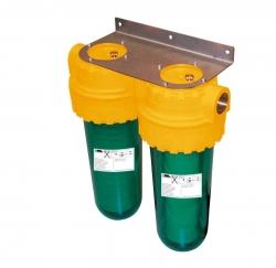 """Ivar CS Dvojitý filtr 10"""" pro filtrování mechanických nečistot z pitné vody + vodní kámen GEL.DEPURA DOBLEAU"""