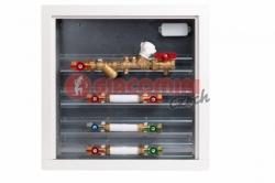 Giacomini GE555Y Modul pro měření spotřeby tepla se zónovým kulovým kohoutem a filtrem, sestavy TV + SV