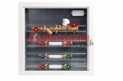 Giacomini GE555Y Modul pro měření spotřeby tepla s vyvažovacím ventilem, zónovým kulovým kohoutem a filtrem, sestavy TV + SV