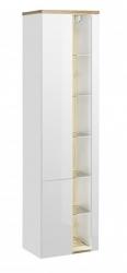 Koupelnová skříňka vysoká Bahama White 800, 170x45x33 cm, bílá lesk/dub