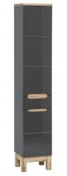 Koupelnová skříňka vysoká Bali Grey 800, 187x35x33 cm, tmavě šedá/dub