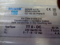 MINIB Transformátor v boxu TT 0-DC, 50VA, 170x140x60 mm