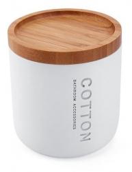 NIMCO Kora Dóza na kosmetické tampóny, bílá/bambus