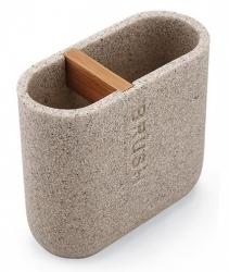 NIMCO Kora Dóza na zubní kartáčky, pískově béžová/bambus