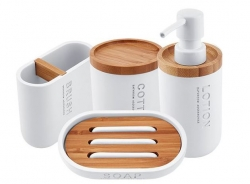 NIMCO Kora Sada koupelnových doplňků, bílá/bambus