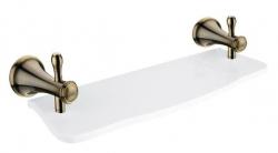 NIMCO Lada Polička 40 cm, bílý umělý kámen, mosaz staromosaz