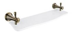 NIMCO Lada Polička 50 cm, bílý umělý kámen, mosaz staromosaz