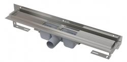 Alcaplast Podlahový žlab APZ4-550 Flexible s okrajem pro perforovaný rošt a s nastavitelným límcem ke stěně, délka 550 mm