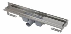 Alcaplast Podlahový žlab APZ4-650 Flexible s okrajem pro perforovaný rošt a s nastavitelným límcem ke stěně, délka 650 mm