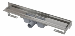 Alcaplast Podlahový žlab APZ4-750 Flexible s okrajem pro perforovaný rošt a s nastavitelným límcem ke stěně, délka 750 mm