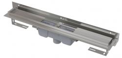 Alcaplast Podlahový žlab APZ1004-550 Flexible s okrajem pro perforovaný rošt a s nastavitelným límcem ke stěně, svislý odtok, délka 550 mm