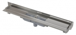 Alcaplast Podlahový žlab APZ1104-550 Flexible Low s okrajem pro perforovaný rošt a s nastavitelným límcem ke stěně, svislý odtok, délka 550 mm