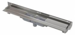 Alcaplast Podlahový žlab APZ1104-650 Flexible Low s okrajem pro perforovaný rošt a s nastavitelným límcem ke stěně, svislý odtok, délka 650 mm