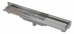 Alcaplast Podlahový žlab APZ1104-750 Flexible Low s okrajem pro perforovaný rošt a s nastavitelným límcem ke stěně, svislý odtok, délka 750 mm