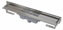 Alcaplast Podlahový žlab APZ1004-850 Flexible s okrajem pro perforovaný rošt a s nastavitelným límcem ke stěně, svislý odtok, délka 850 mm