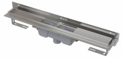 Alcaplast Podlahový žlab APZ1004-1050 Flexible s okrajem pro perforovaný rošt a s nastavitelným límcem ke stěně, svislý odtok, délka 1050 mm