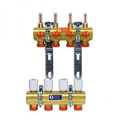 Giacomini R553FE Sestava rozdělovač+sběrač, s reg. šroubeními a ventily, průtokoměry 0,5÷5 l/min