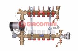Giacomini R557FMS-G Směšovací rozdělovač s průtokoměry pro podlahové vytápění do nízkoteplotních systémů, kompletní sestava